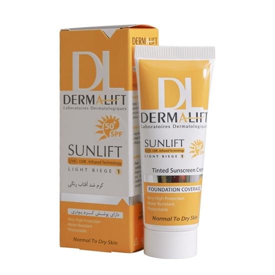 تصویر کرم ضد آفتاب پوست معمولی و خشک رنگی سانلیفت درمالیفتSPF50